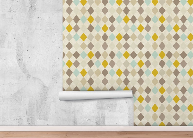 Peel And Stick Wallpaper With Vintage Pattern Retro Wallpaper Etsy Peel And Stick Wallpaper Retro Wallpaper Removable Wall Stickers