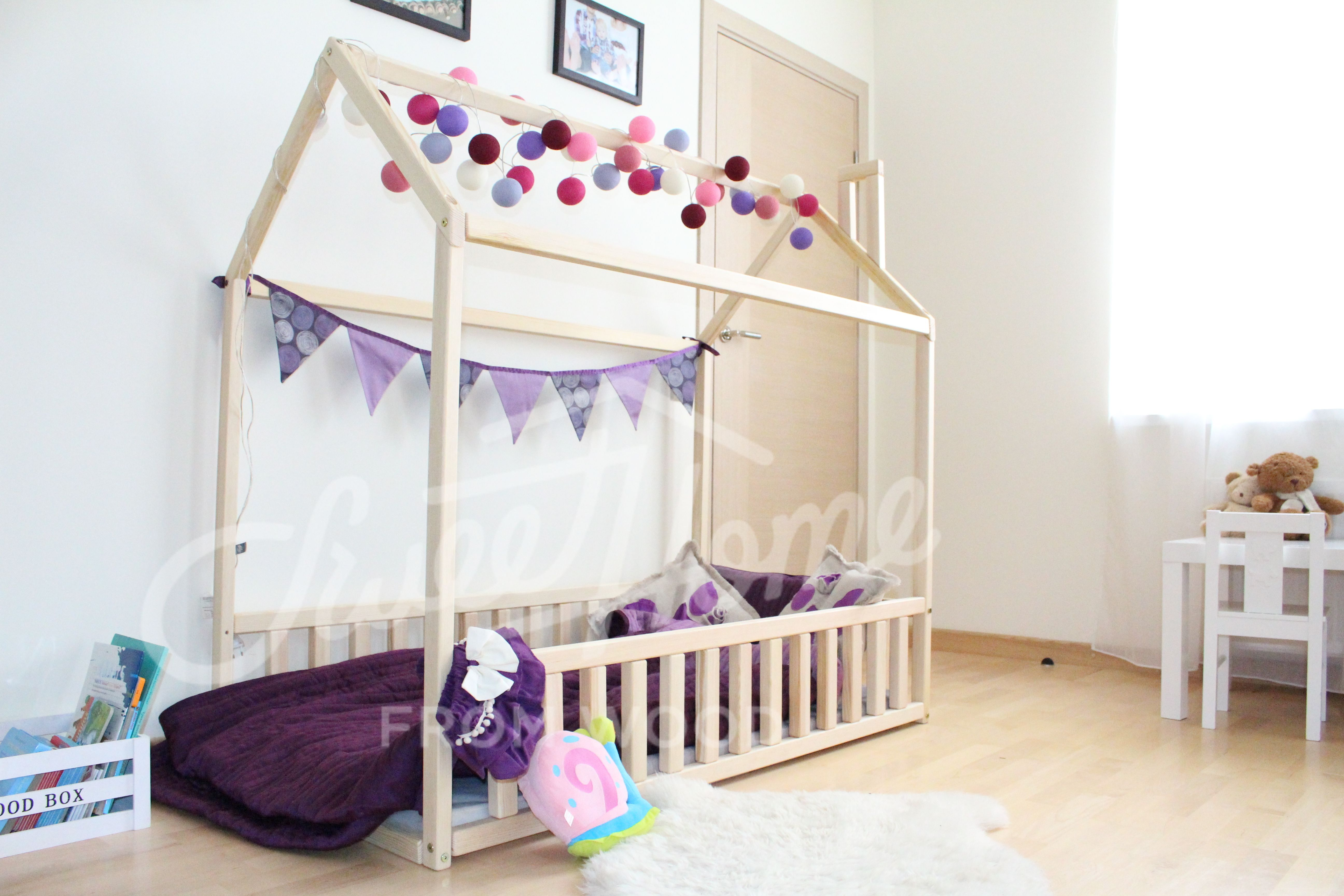 Barnerom, Twin Size Children Bed, Wood Bed House, House Bed,