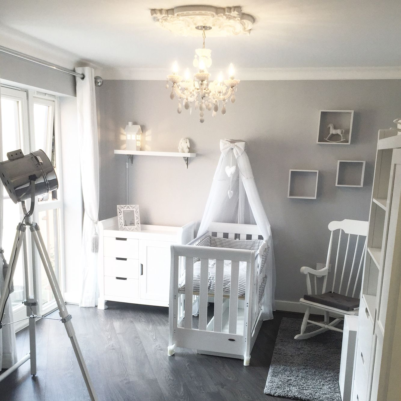 Baby Room, Nursery Grey & White. White Company, Dulux