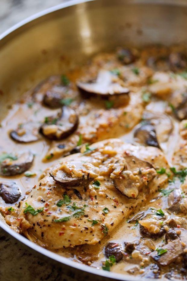 One Skillet Chicken With Garlicky Mushroom Cream Sauce Recipe Recipes Chicken Skillet Recipes Chicken Recipes