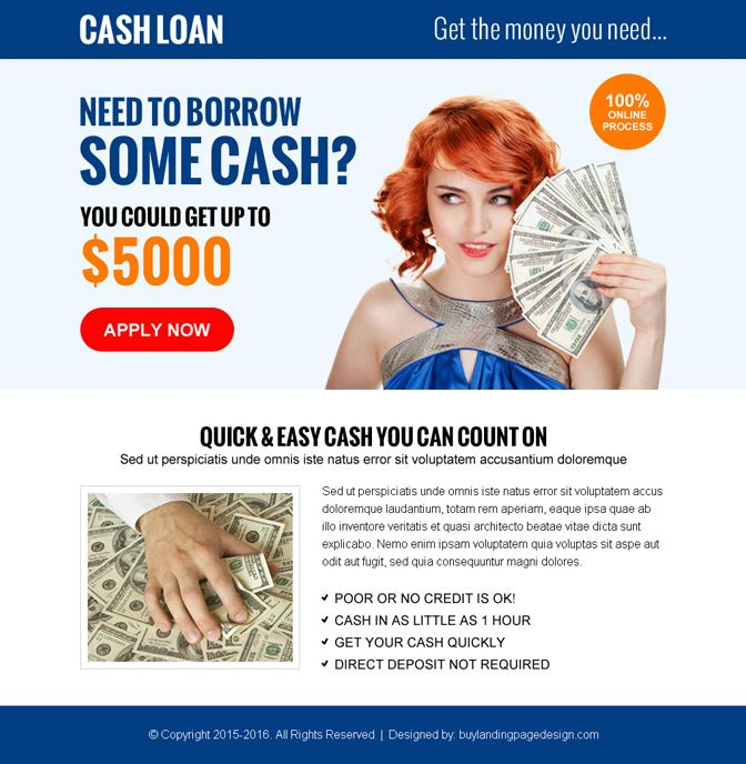 Quick And Easy Cash Loan Cta Ppv Landing Page Design