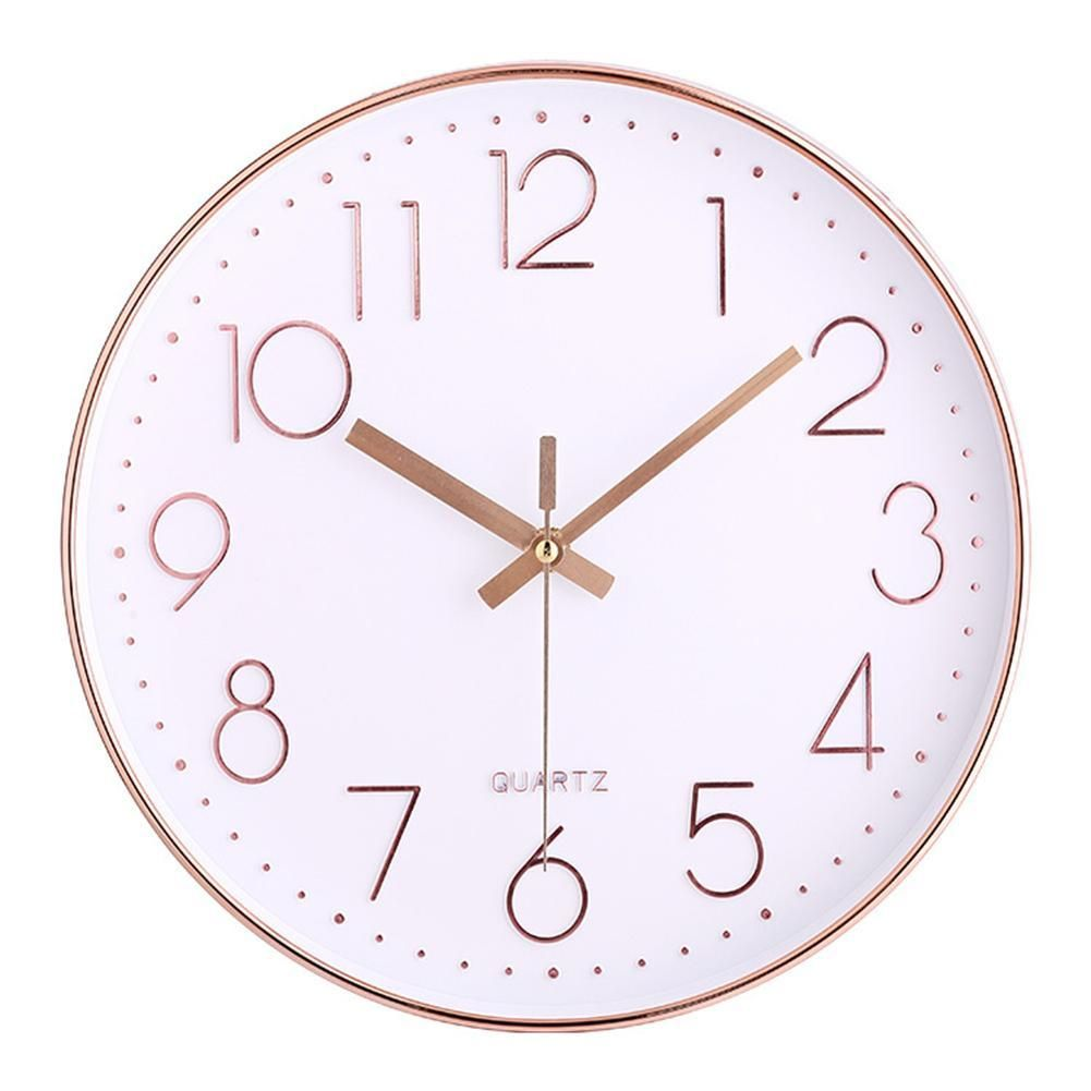Rose Gold Wall Clock 12 Inches Rose Gold Pink Office Supplies School Supplies Business Supplies Gift Gold Wall Clock Wall Clocks Living Room Wall Clock
