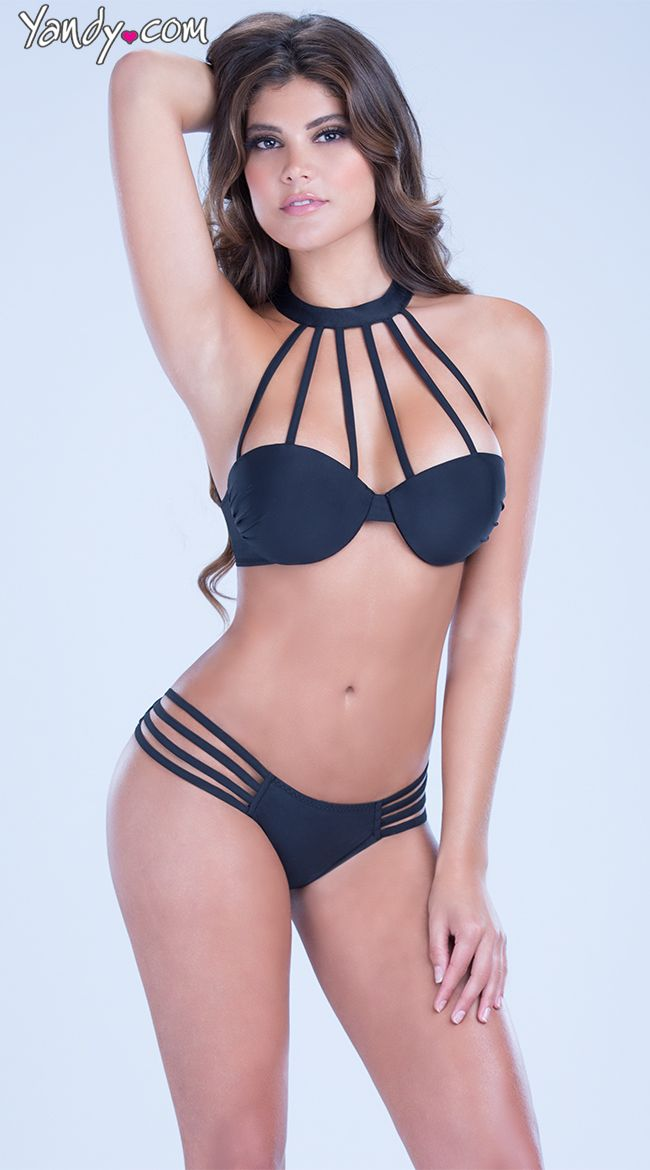 2983e1311f Collar Neck Bikini Top Set