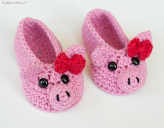 Photo of CROCHET PATTERN – Pink Piggy Baby Booties