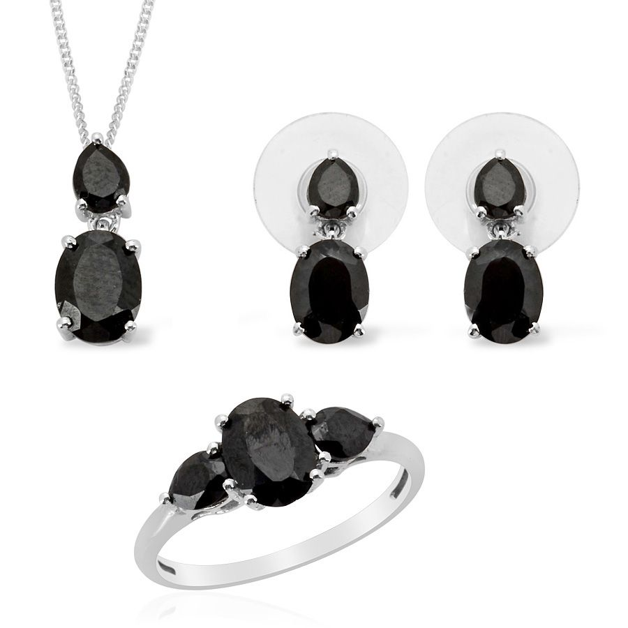 Liquidation Channel: Thai Black Spinel Ring, Earrings, And Pendant With  Chain (18