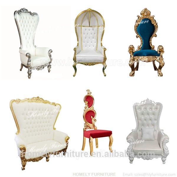 Wholesale Antique Wooden Carved Mahogany High Back Gold Pink King Queen Chair Cheap King Throne Chair Rental For Wed Throne Chair King Throne Chair Chair Style