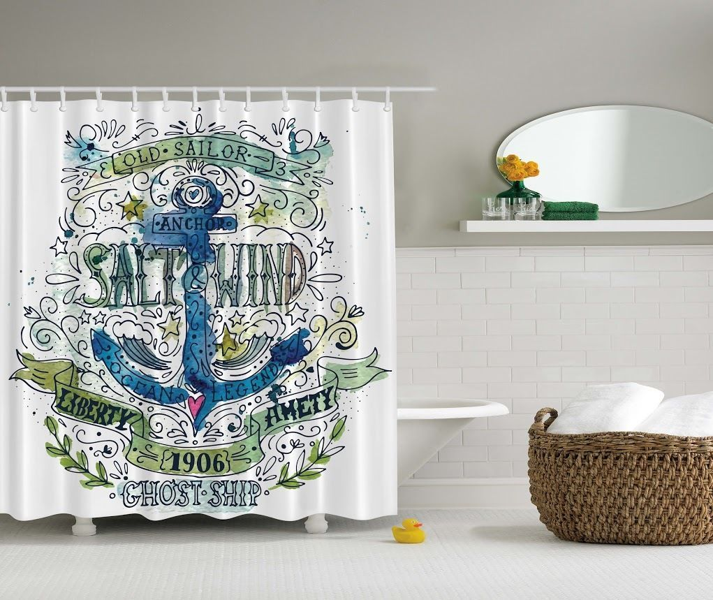 Details About Anchor Beach Graphic Shower Curtain Chain Ship Old