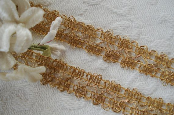 GOLD METAL AND BLACK SILK EARLY 1900/'S   1 YARD ANTIQUE TRIM FRENCH