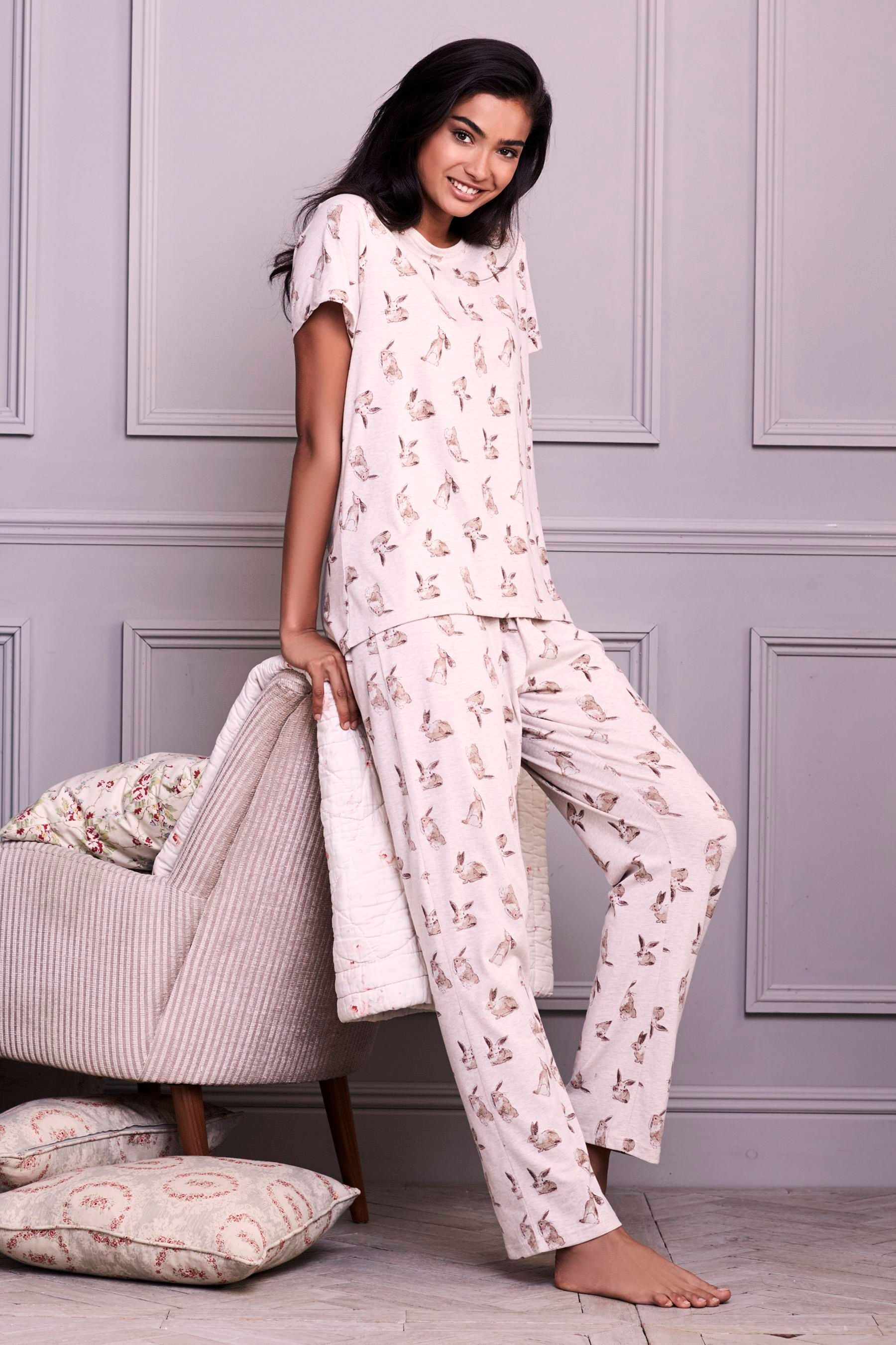 86686a33eb Buy Oatmeal Wrapband Bunny Print Pyjamas from the Next UK online shop