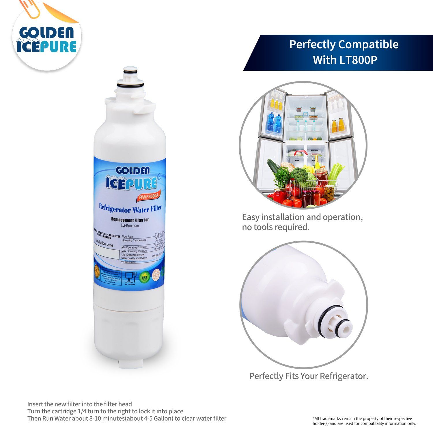 Golden Icepure LT800P Refrigerator Water Filter Replacement for LG