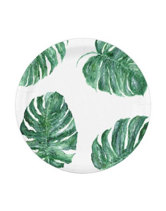 Palm Leaf Paper Plates Monstera Leaf Plates Tropical Leaf Plates