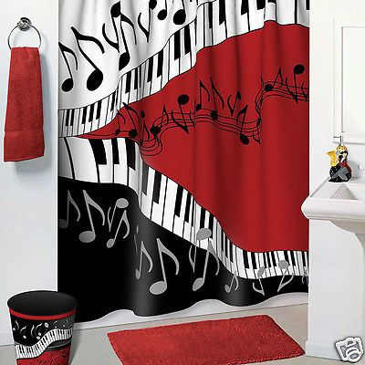 Jazzy Music Red Black White Bathroom Accessories 5 Pc Set