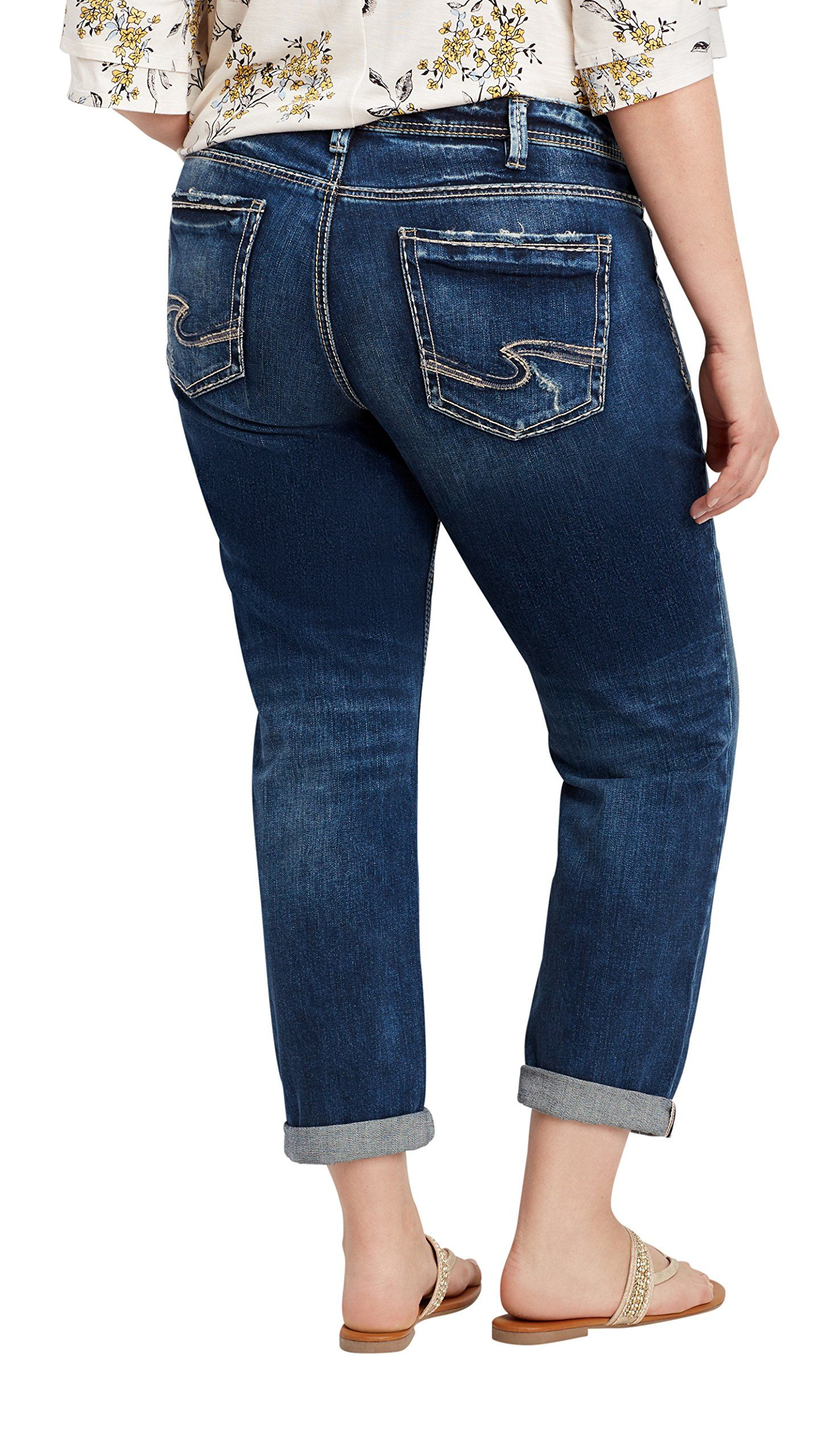 79c6027e57513 Silver Jeans Co. Womens Plus Size Sam Boyfriend Jeans 22 Dark Sandblast      Check this awesome product by going to the link at the image.