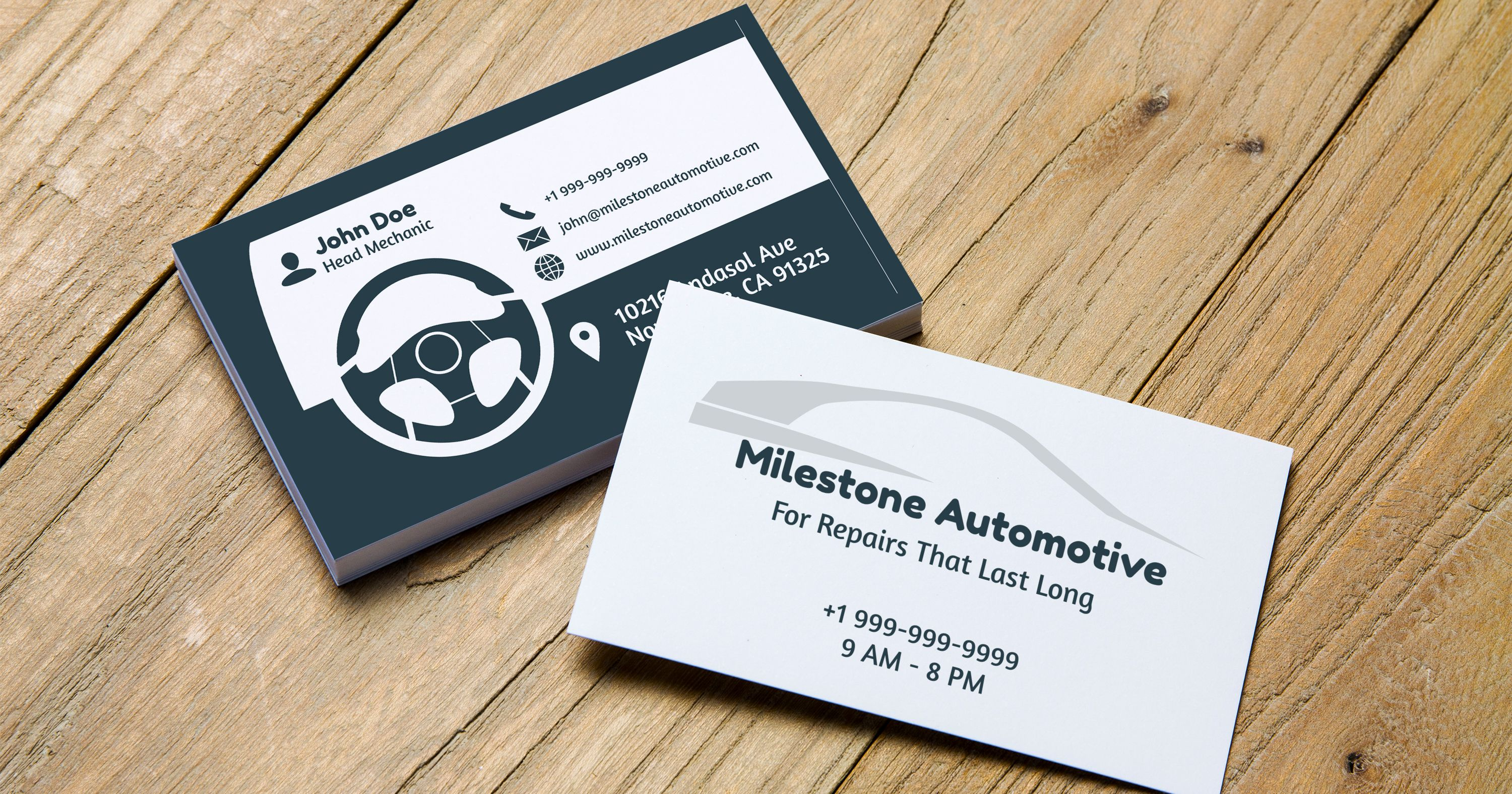 Easily create \'ready to print\' auto repair shop business card ...