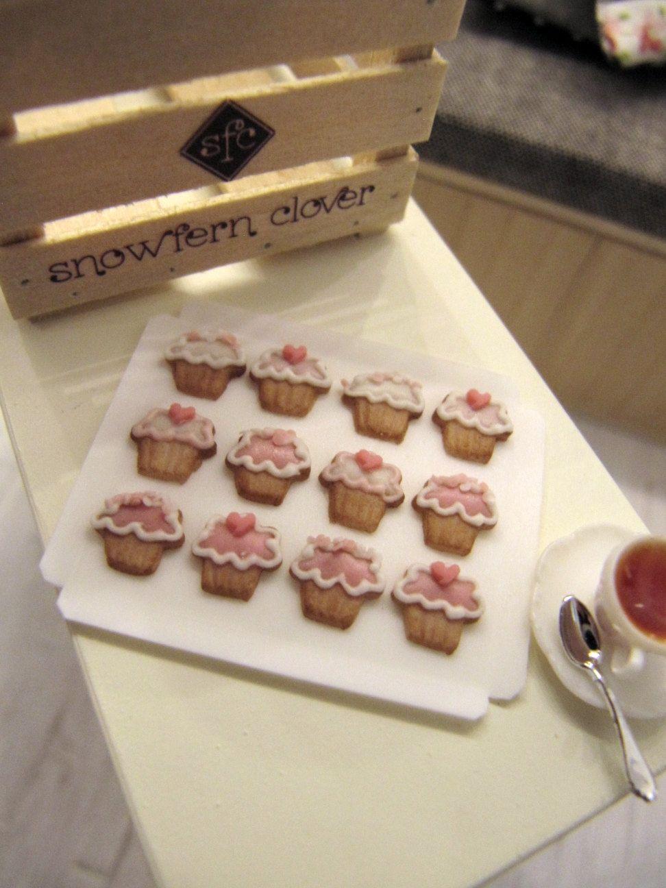 Miniature Cookies - Cupcake Designs - 12 pcs - 1/12 Scale Dollhouse Miniature. $42.00, via Etsy.