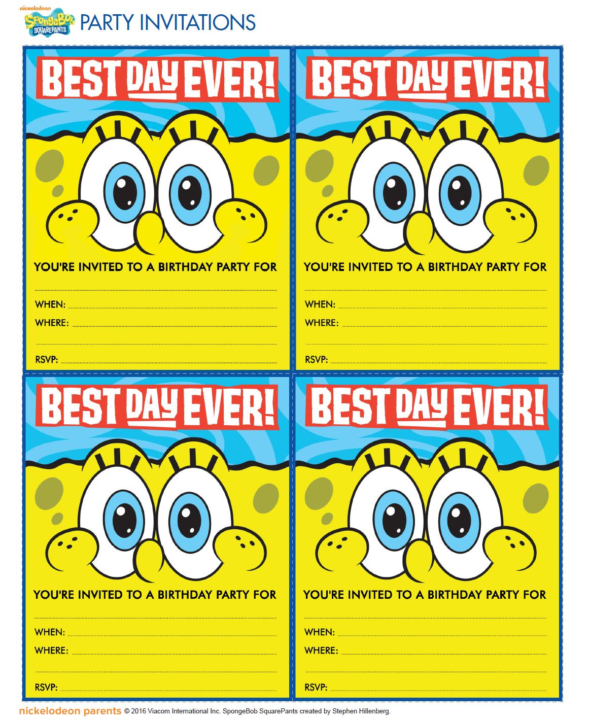 Http Www Nickelodeonparents Com Spongebob Best Day Ever Party Invitations Spongebob Birthday Spongebob Party Spongebob Birthday Party Decorations