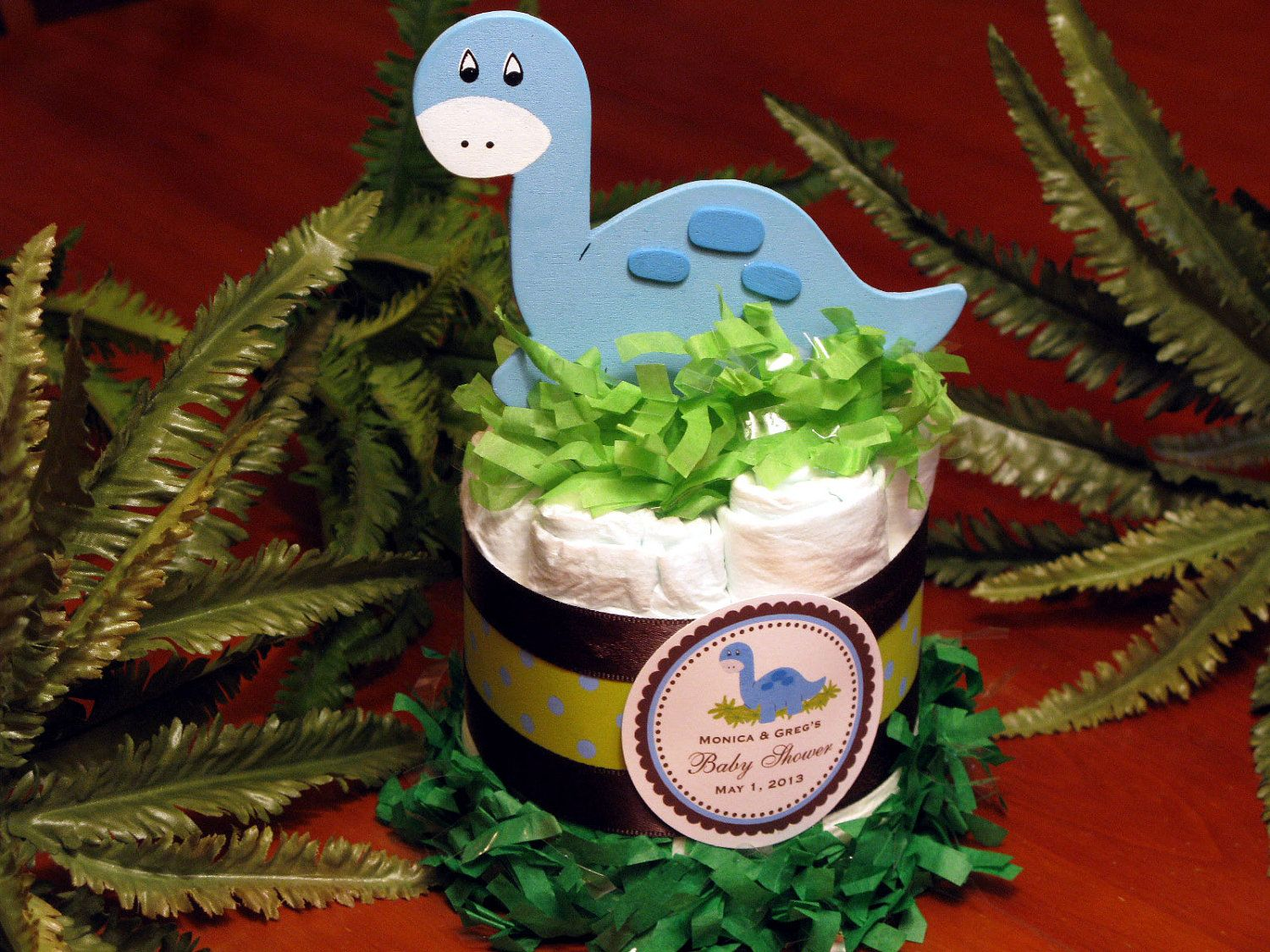 BABY DINO DINOSAUR Diaper Cake Centerpieces   Baby Shower Favors. $9.99,  Via Etsy.