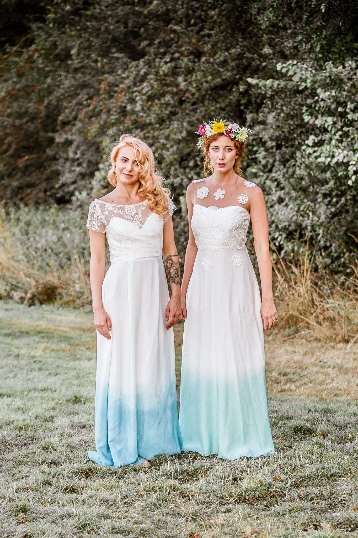Dip dye boho style wedding dress unique blue dip dyed wedding dress