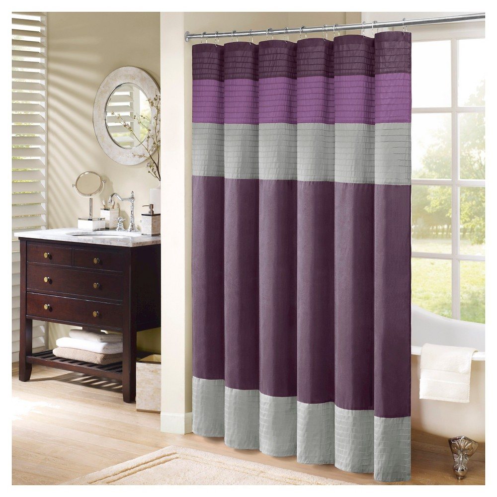 Salem Solid Pieced Polyester Shower Curtain W Pintucking Purple