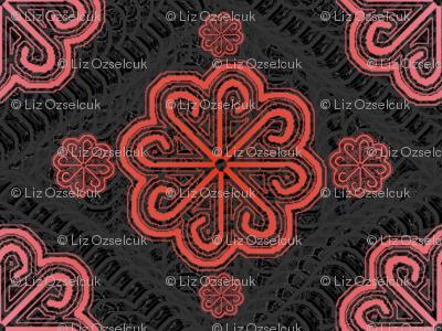 pink pinwheel lace, y-knot_designs on Spoonflower