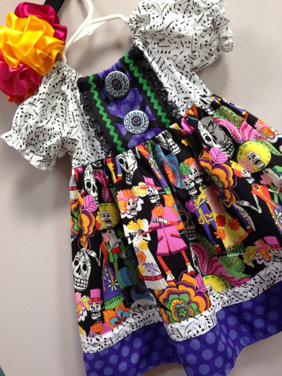 Size 3t........Day of the dead Dress.....Made by LevonaDanielle