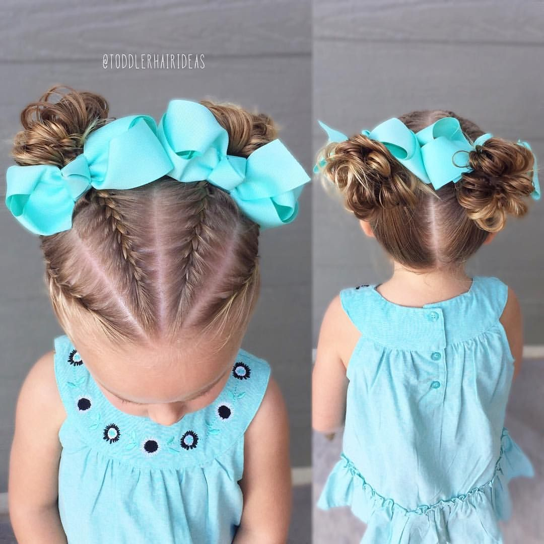 French braids and messy buns - toddler hair ideas | Toddler hair ...