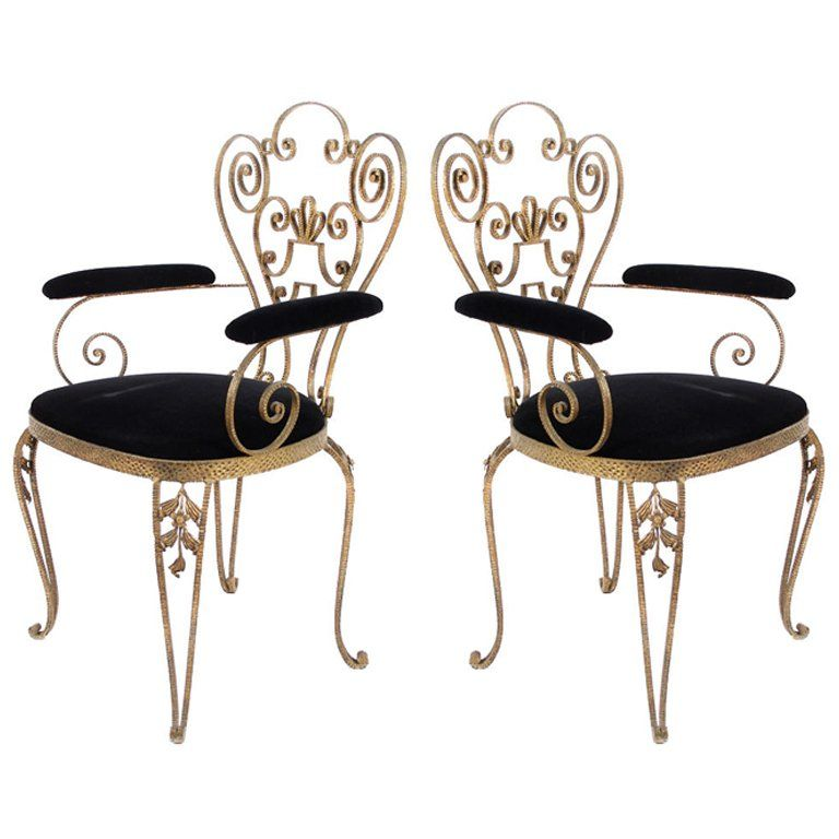 Pair Of Italian Textured Wrought Iron Chairs From The 1950s With