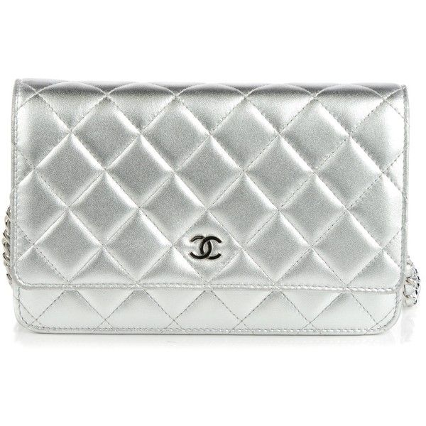 dd45cd864068 CHANEL Metallic Lambskin Quilted Wallet On Chain WOC Silver ❤ liked on  Polyvore featuring bags, wallets, chanel, silver wallet, quilted wallet, ...