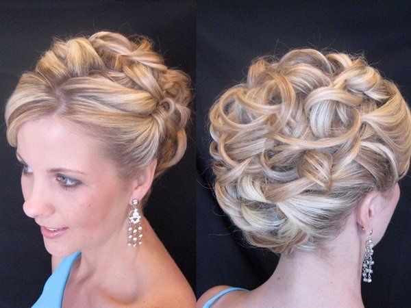 Classic Curly Updo Wedding Hairstyles With Flower