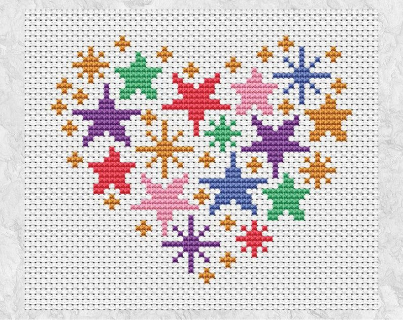 Stars Heart Cross Stitch Pattern Modern Rainbow Embroidery Etsy In 2020 Easy Cross Stitch Patterns Simple Cross Stitch Cross Stitch Patterns