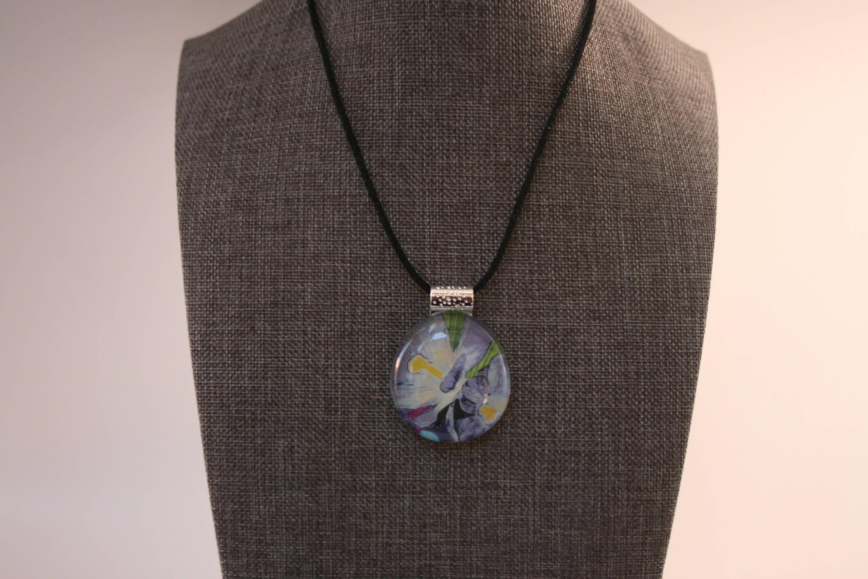 Beautiful Blue Flower Flat Back Glass Pebble Pendant Necklace Adjustable Black Nylon Cord by Mckenziepartyof5 on Etsy