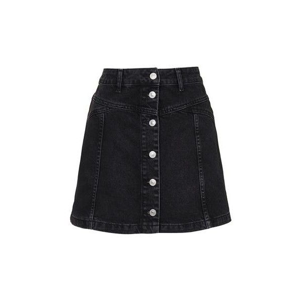 TopShop Petite Moto Button Seam Denim Skirt (155 MYR) ❤ liked on ...
