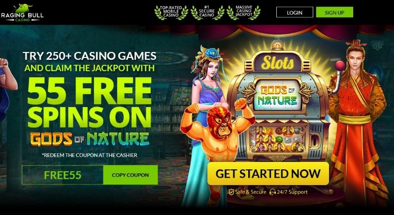 Raging Bull Casino 55 Free Spins On Gods Of Nature