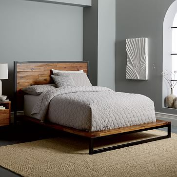 Logan Industrial Platform Bed Natural Industrial Platform Beds