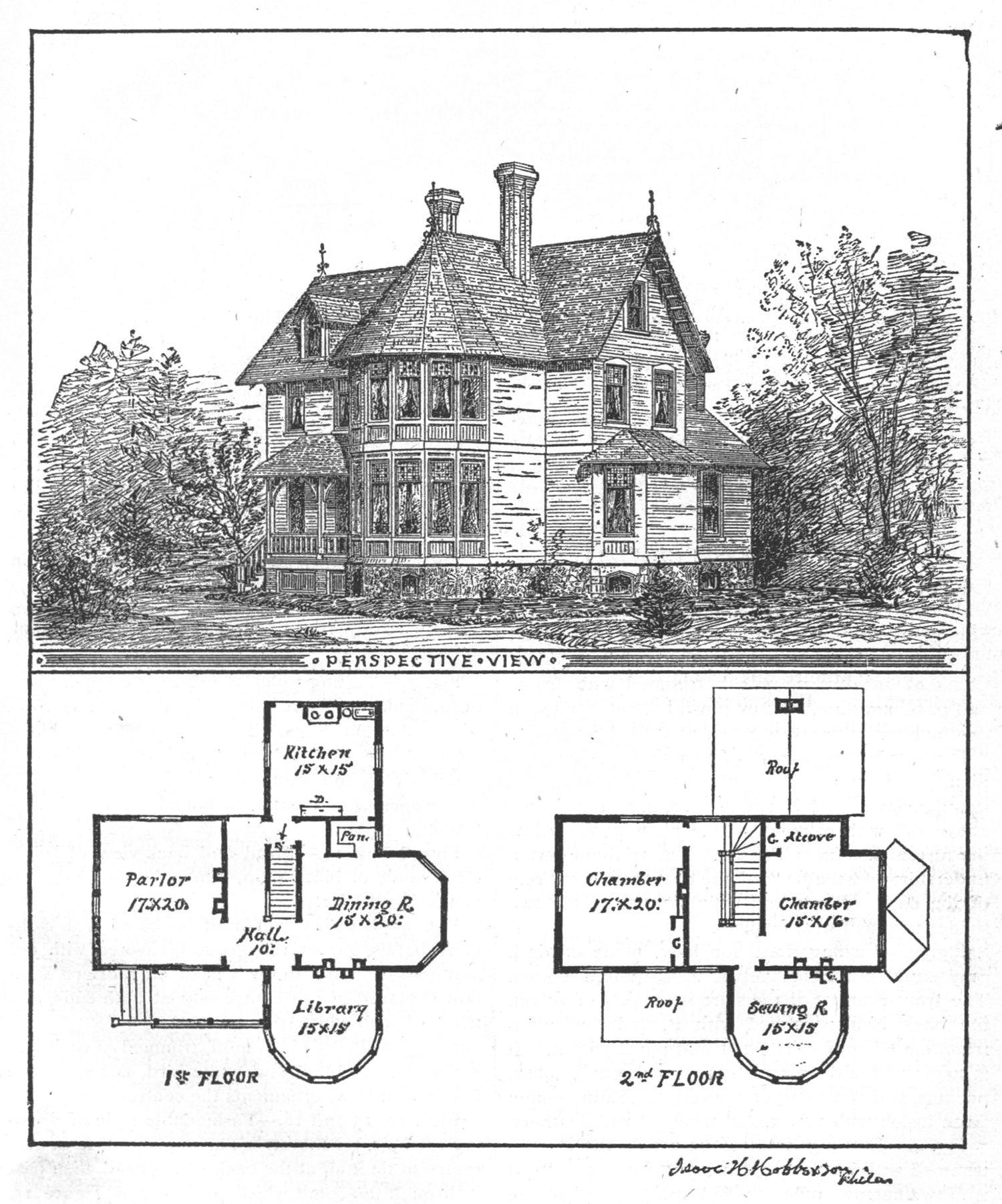 Vintage illustration victorian floor plan 1800 39 s 1940 for Folk victorian house plans