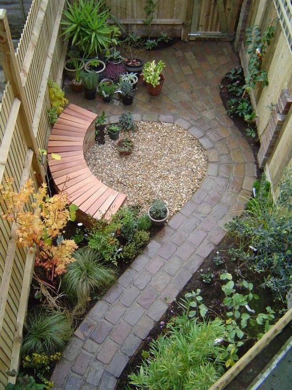 Feng shui garden fashion bench wood walkway stone slabs tiles
