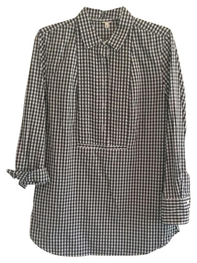 d1016ed882 Black/White Gingham Tunic Button-down Top | 2016 | Gingham, Buttons ...