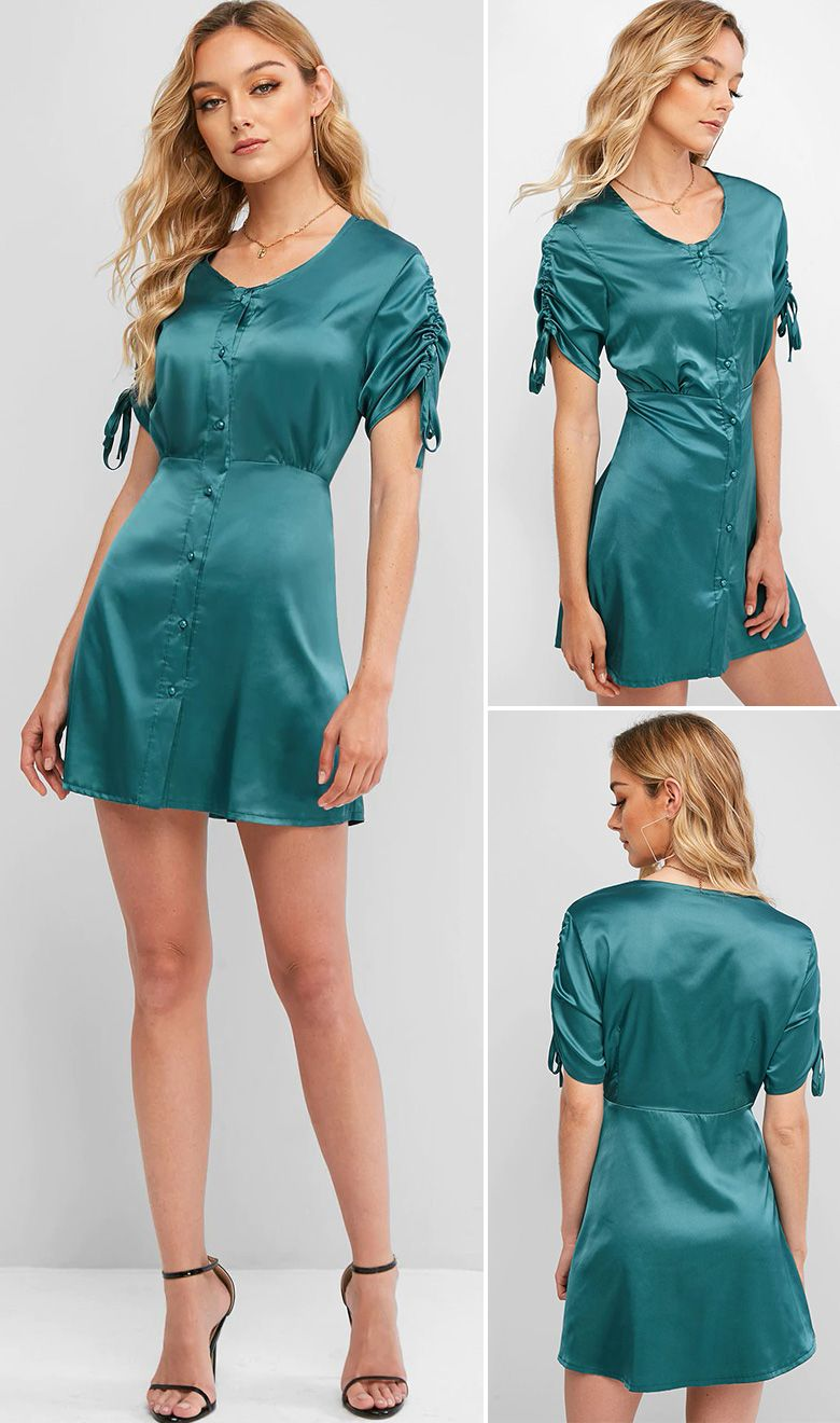 Cinched Sleeve Button Up Satin Mini Dress BLACK MACAW BLUE