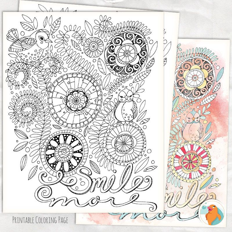 Adult coloring page smile more instant download by fishscraps