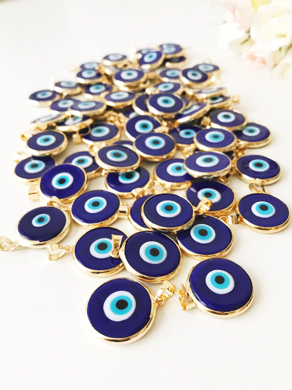 Handmade Evil Eye Beads Lamp Work Evil Eye Necklace 3 Pcs Turquoise Murano Glass Evil Eye Pendants Murano Lampwork Turkish Evil Eye