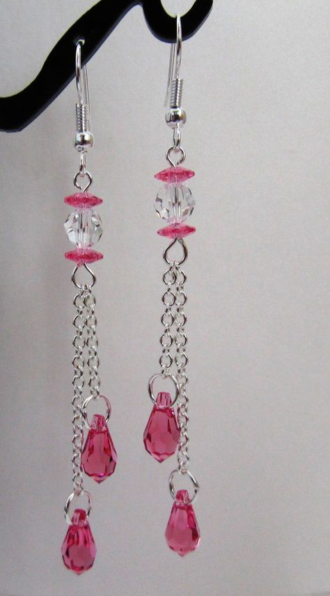 Rose Pink Teardrop Earrings Chain by MoYuenCreations on Etsy, $16.00