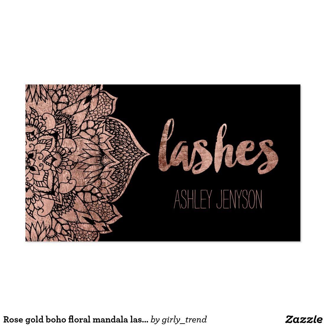 Rose gold boho floral mandala lashes typography business card ...