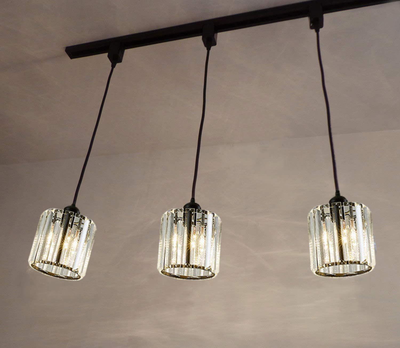 Kiven 3 Lights Track Light Crystal Pendant Light For Kitchen Island Counter Bar Dining Room Bedr In 2020 Track Lighting Pendants Crystal Pendant Lighting Pendant Light
