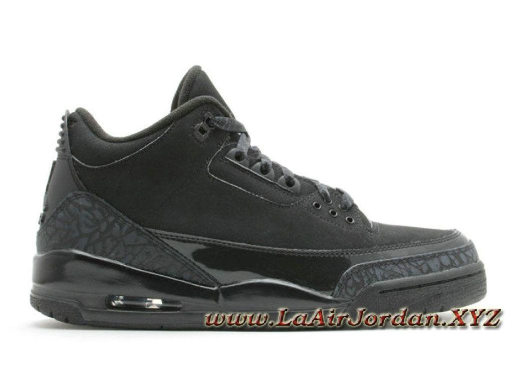 Air Jordan 3 Retro Black Cat 136064-011 Chaussures Jordan 2017 Pour Homme  Noires