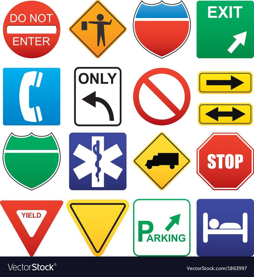 Road Signs Vector Image On Vectorstock In 2020 Road Signs Vector Graph Vintage Logo Design