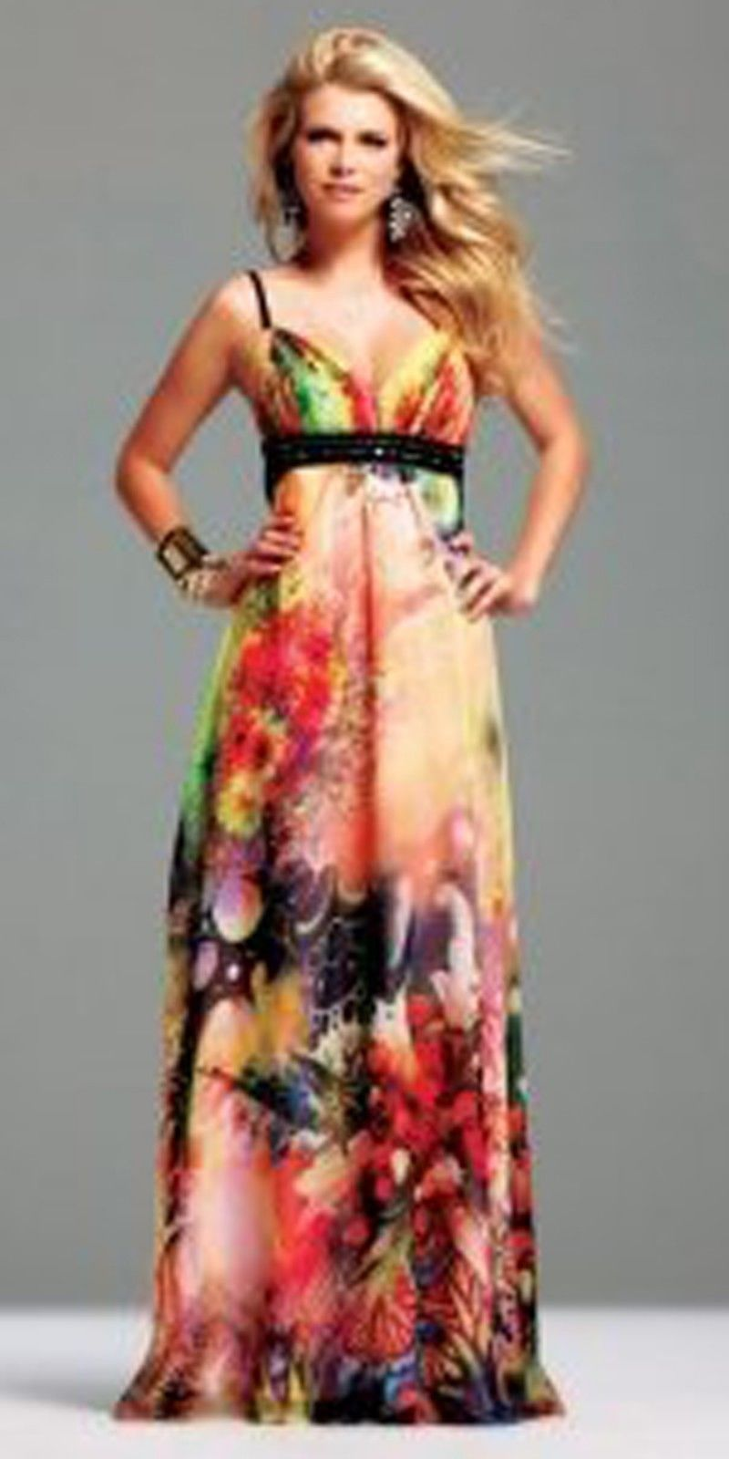 Alyce long printed prom dress size pageant evening formal