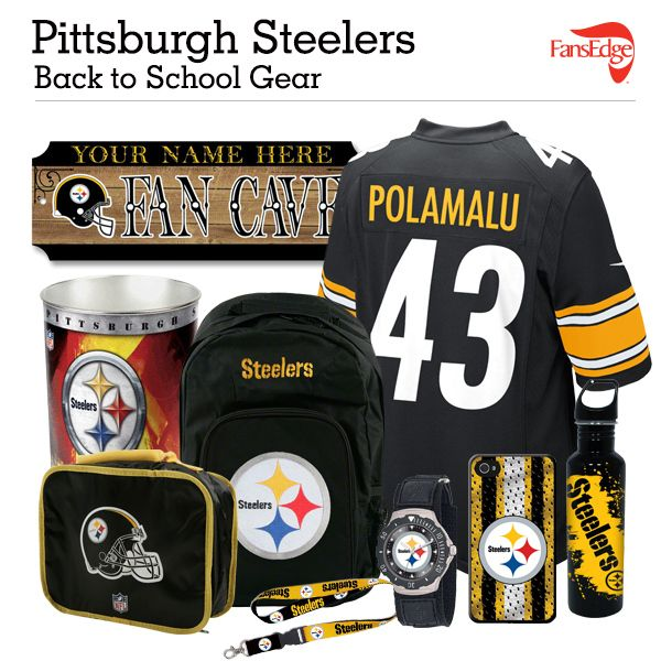Pittsburgh Steelers Fans - Pin It to Win It All! You can win a complete back to school NFL prize pack worth over 300 dollars! To enter, pin your favorite NFL Team's Back to School image to win every item in the collage! #FansEdge –Visit http://www.fansedge.com/promotions.aspx?social=pinterest_nfl_pintowin to enter