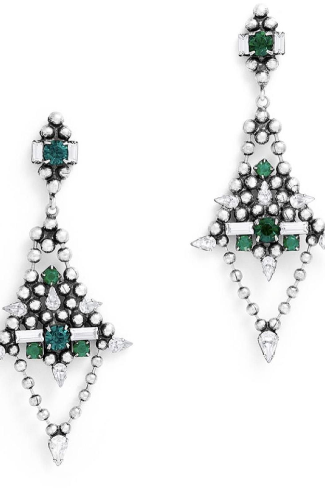"""Oxidized silver statement earrings with emerald and clear crystal Swarovski elements. Post backs for pierced ears.    Measures: 3"""" L   Lazarus Earring by DanniJo. Accessories - Jewelry - Earrings - Statement Toronto, Canada"""