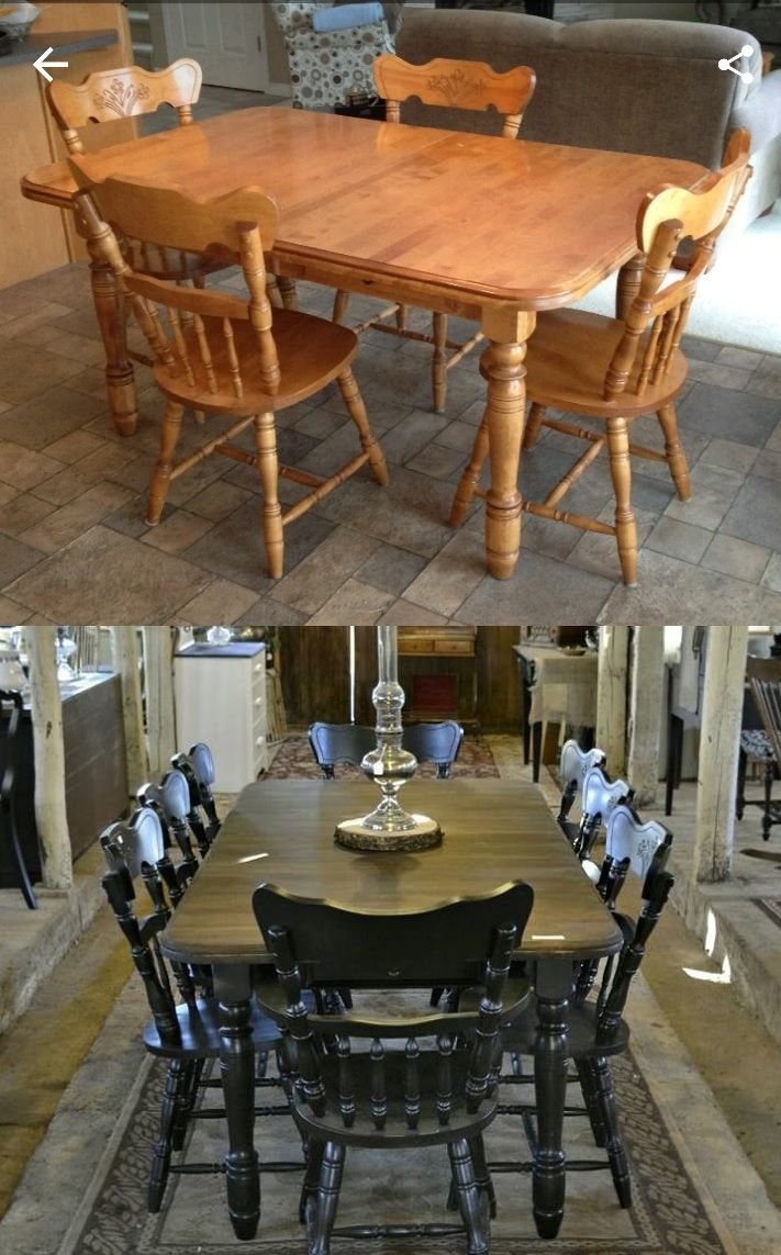 Maple Dining Set Refinished Solid Maple Table Was Still Sturdy And Strong But Finish Was Showing Years Dining Table Makeover Maple Tables Maple Dining Table