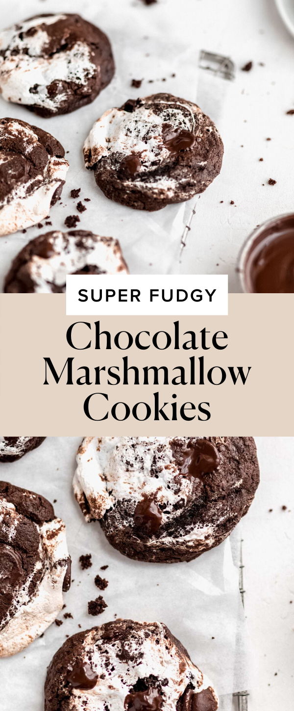 These double chocolate cookies are rippled with gooey marshmallow fluff AKA they're HEAVEN. #chocolate #marshmallow #easy #cookies